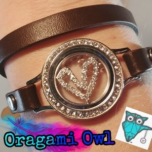 Oragami owl leather bracelet&charms